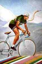 FAUSTO COPPI Team BIANCHI ciclismo cycling REPRODUCTION cyclist drawing radsport