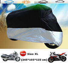 XL Large Motorcycle Waterproof Outdoor Motorbike Rain Vented Bike Cover Black