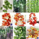 10x Green Red Vine leaves Maple Salix Ivy/ 12x Purple White Wisteria Floral