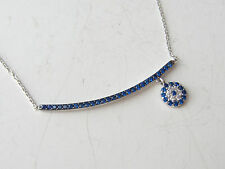 TURKISH 925K STERLING SILVER EVIL EYE SAPPHIRE GOOD LUCK NECKLACE