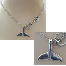 Silver Whale Tail Pendant Necklace Jewelry Handmade NEW Accessories Nautical