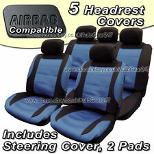 Black Blue Mesh Fabric Front Rear Car Seat Covers Pack, + Steering Cover & Pads