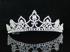 SPLENDID CLEAR AUSTRIAN RHIESTONE TIARA CROWN W HAIR COMBS BRIDAL WEDDING T1728