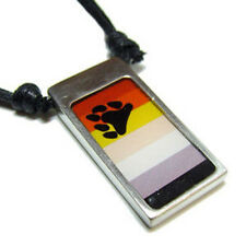 Pride Shack - Gay Pride Pewter Male Bear Pride Flag - Mens Paw Pendant Necklace