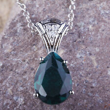 Pear Green & White Topaz Gemstones Jewellry Silver Free Chain Necklace Pendant