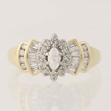 Diamond Ring - 14k Yellow Gold Halo Marquise Brilliant .50ctw