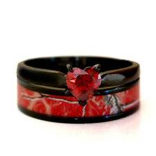 Black Plated Red Blue Purple Heart CZ CAMO WEDDING RINGS Bridal Engagement SET