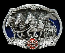 BELT BUCKLE AMERICAN FIREFIGHTER FIREMAN HORSE FIRE TRUCK BOUCLE CEINTURE