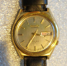 Seiko mens automatic  yellow gold plated 17j mechanical wristwatch