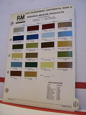 1975 Lincoln Continental Mark IV Thunderbird Paint Chips Color Chart R-M 75 Ford