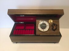 VINTAGE MEIKO WIND UP ALARM CLOCK WOOD JAPANESE RARE MUSIC BOX JEWELRY BOX