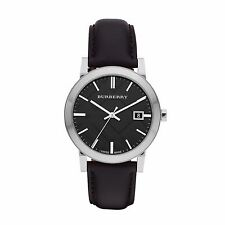 Burberry BU9009 Men's Swiss Movement Black Leather Check Silver Tone 38 mm