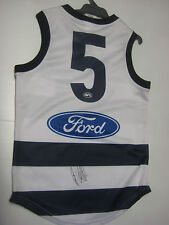 GEELONG GARY ABLETT SNR HAND SIGNED HOME JERSEY UNFRAMED + PHOTO PROOF+COA