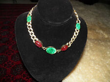 Vintage statement runway KJL Kenneth Lane faux jade carnelian gold tone necklace