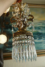 "Pair 15"" tall Vintage baroque hanging Spelter brass plt Lamp Crystal Chandelier"