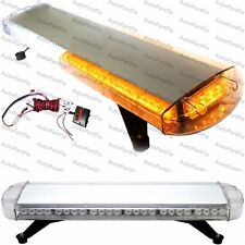 "33"" 56 LED White Amber Emergency Warning Truck Strobe Light Tow Roof Bolt Bar"