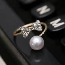 Woman Jewelry Gifts Bowknot Crystal Gold Finger Adjustable Opening Rings