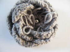 Hand Knitted Flower Brooch: Silver with sparkle, by Knitted Nature