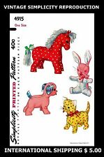 Simplicity 4915 Toy Craft Stuffed Animal Fabric Sew Pattern DOG CAT HORSE RABBIT