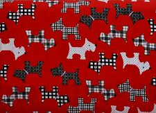 SCOTTIE DOG POLY COTTON FABRIC TARTAN SPOTS SCOTTISH WESTIE TERRIER MATERIAL