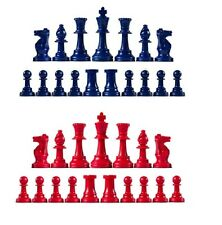 Staunton Triple Weighted Chess Pieces – Full Set 34 Navy Blue & Red - 4 Queens