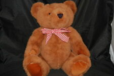 """Big Brown Teddy Bear Fully Jointed Red Plaid Bow Black Nose Plush 20"""" Toy Lovey"""