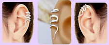 SNAKE EAR CUFF 925 Sterling Silver Upper Helix Clip on+Adjustable Size PUNK