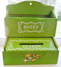 Vintage Wooden Stamp/Book Holder Wall Hanging Green Shabby Cottage Chic 1970's!!