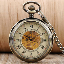 Men's Steampunk Mechanical Skeleton Open Face Pocket Watch Pendant Chain Gift