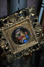 Antique Religious RAPHAEL's Madonna of the Chair Framed Porcelain - Hand Painted