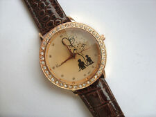 Cute  Lovers  Crystal  Quartz Watch Faceted Glass Face Brown Strap