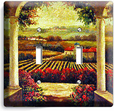 TUSCAN VINEYARD PAINTING KITCHEN DINING ROOM ART DOUBLE LIGHT SWITCH WALL PLATE
