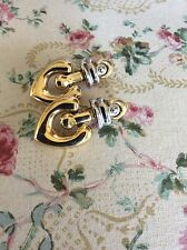 Fabulous! Signed Paolo Gucci Gold Plated Silver Modernist Design Clip Earrings!