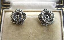 Lovely Genuine Silver & Marcasite Rose/Flower Stud Earrings