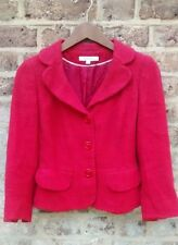 LK BENNETT RED COTTON BLEND SHORT CROP JACKET BLAZER 40s 50s STYLE UK8 EUR36