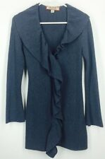 Beyond Threads XS Peru Alpaca Wool Sweater Cardigan Coat Dusty Blue Boho Ruffle