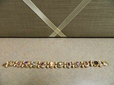 MULTI STONE SLIDE BRACELET 10K YELLOW GOLD - Pre- owned, beautiful