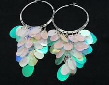New Sequin Hoop Earrings Silver Plated Women Pierced White AB