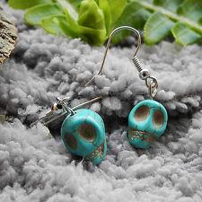 Turquoise Stone Skull Head Drop/Dangle Hook Earrings Lady Girl Gift 3.5cm