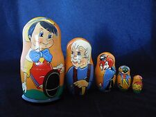 Matryoshka Pinocchio Disney Character Hand Crafted Russian 5 Pieces Nesting Doll