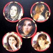 Caesars Palace LV Celine Dion Chips Set of 5. UNC. Matching # 00999/10000 Rare.