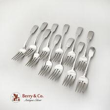 Fiddleback Hammered Salad Forks Set Old Newbury Crafters Sterling Silver
