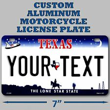 Texas Custom Personalized State License Plate Motorcycle Your Name or Text Cool!