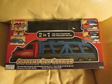 2 in 1 SUPREME CAR CARRIER WITH TOOL BOX and 6 RACE CARS and TOOL BOX