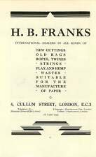 1937 A Mason Global Works Manchester Hb Franks Cullum Street Scrap Ad