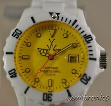 New Unisex ToyWatch FL01WHYL Mood Only Time Yellow Dial Plasteramic Watch $225