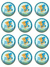 "12 x 1st Birthday Bear personalised 2"" PRE-CUT Rice Paper Cupcake  Toppers"