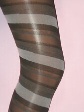 12-16 Black Grey Opaque Spiral Stripe Tights. M/L NEW office smart neutral