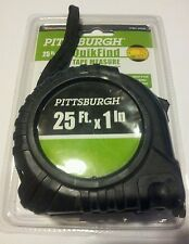 """25ft 1"""" ACCURATE - RELIABLE - DURABLE EASY USE PITTSBURGH quikfind tape measure"""