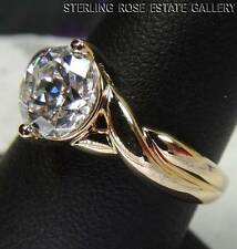 CUBIC ZIRCONIA 8mm VERMEIL STERLING SILVER 0.925 ESTATE ENGAGEMENT RING size 8